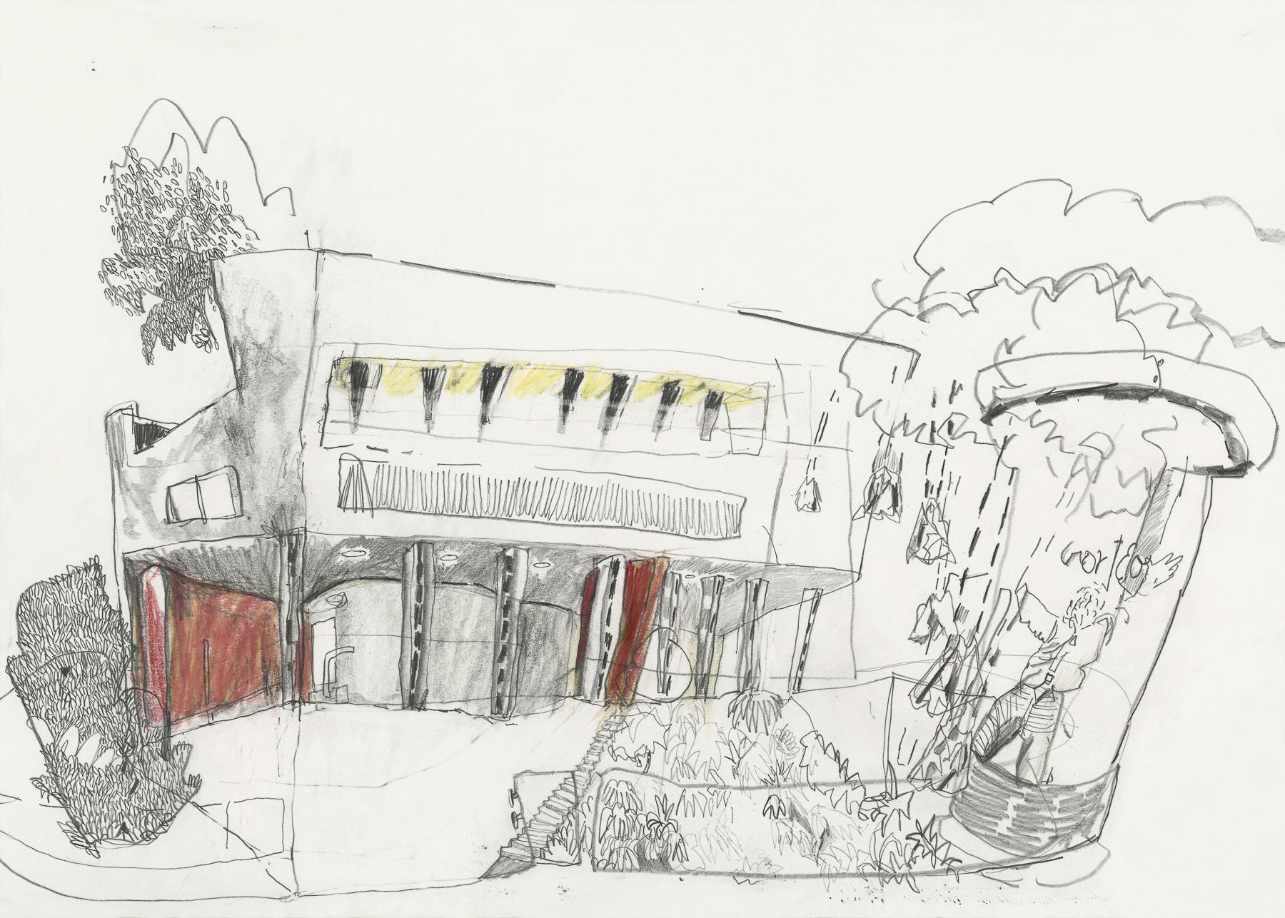 Haus Le Corbusier, Graphit und Farbstift auf Papier, 40 x 32 cm, 2019
