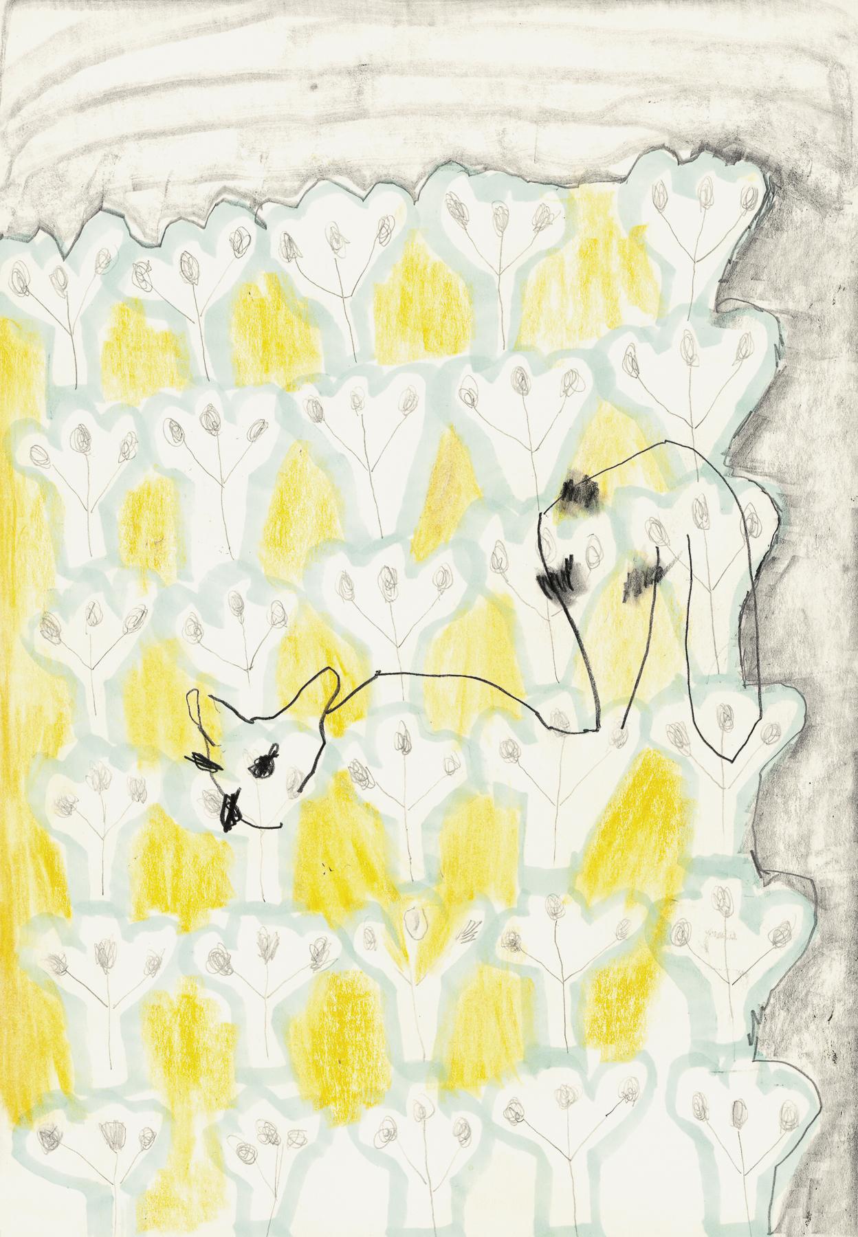 Lemonlemur, Graphit und Farbstift auf Papier, 30 x 21 cm, 2019