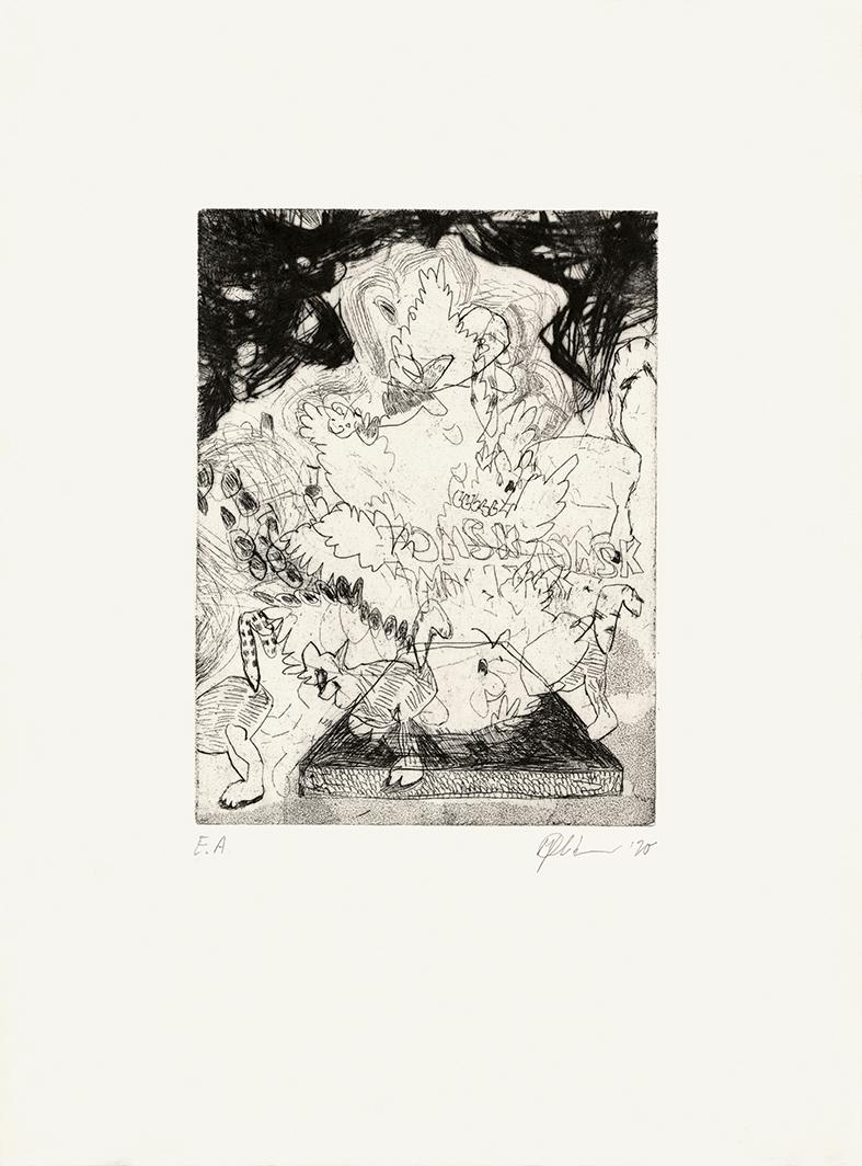 Tanz der Lemuren, Radierung auf Bütten, 38 x 27 cm, 2020