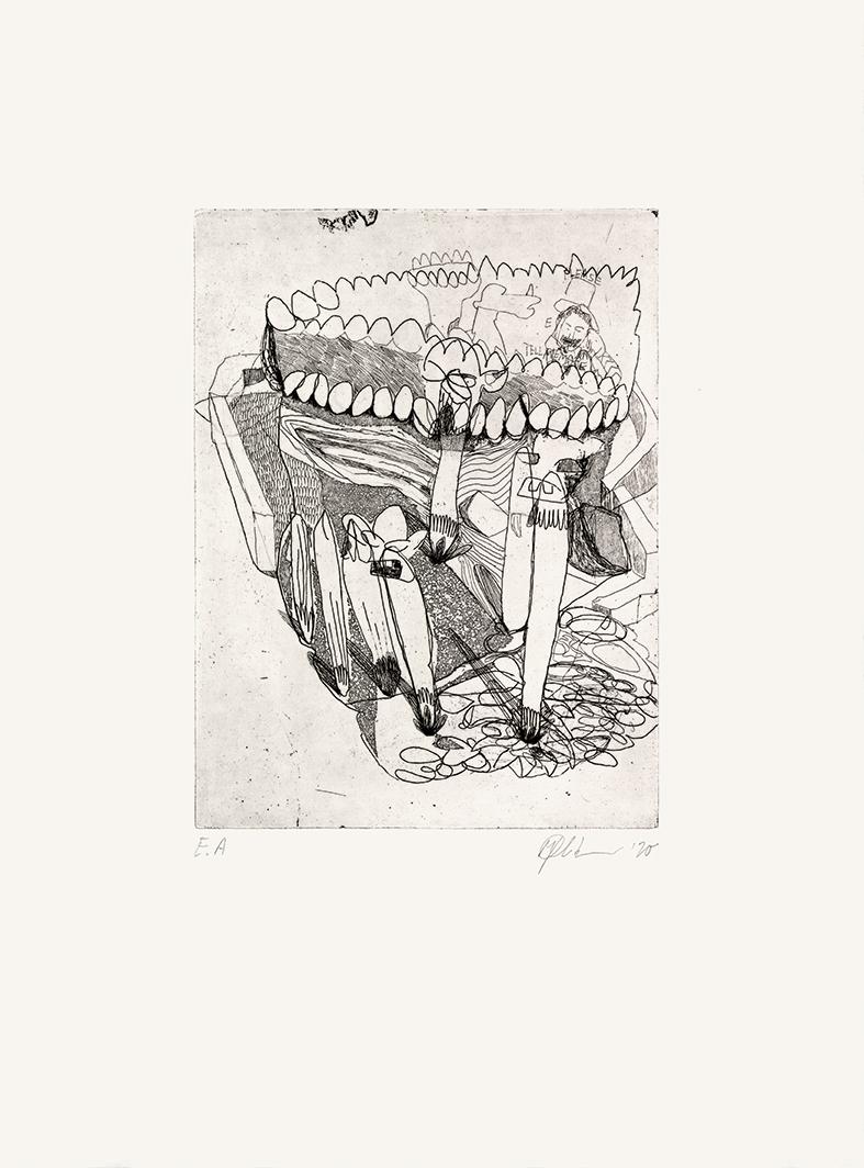 Tell me more  Radierung und Aquatinta auf Bütten, 38 x 27 cm, 2020