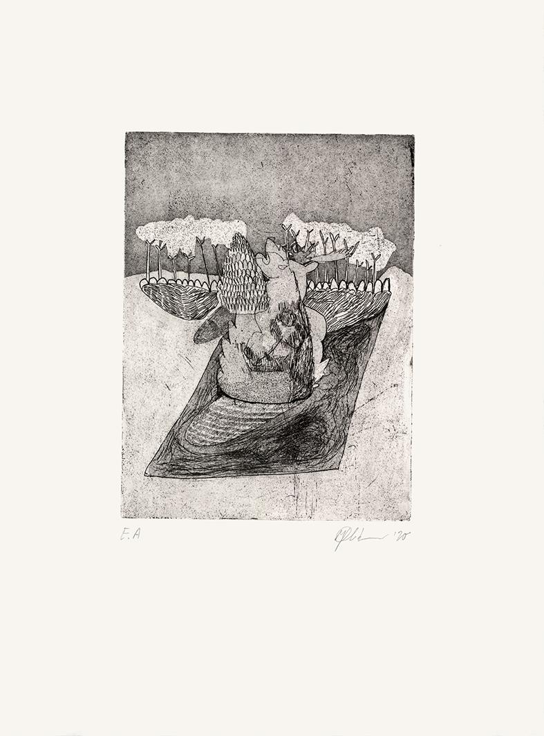 o.T., Radierung und Aquatinta auf Bütten, 38 x 27 cm, 2020