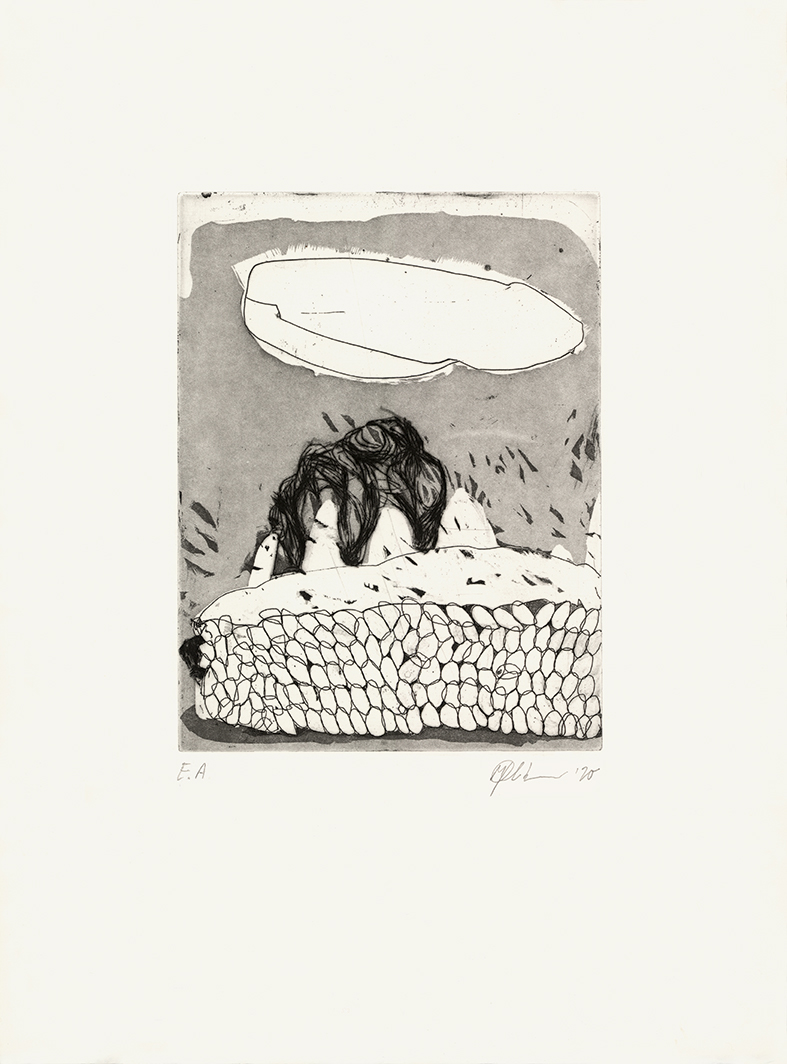 o.T., Radierung und Aquatinta auf Bütten, 38 x 27 cm, 2020_