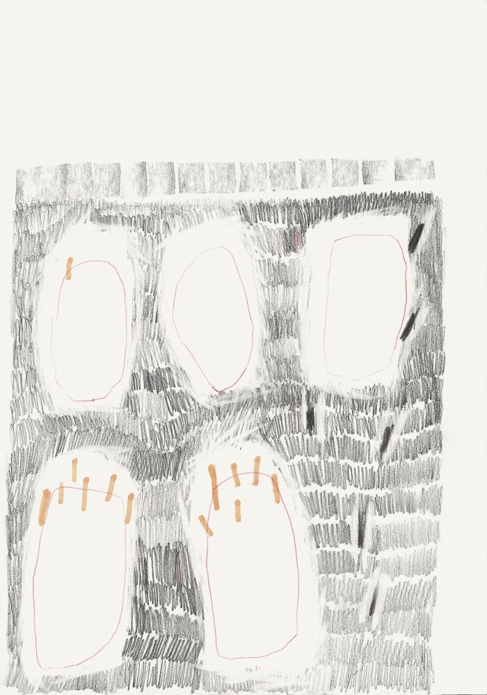 Zeichnung Matthias Plenkmann, Einschluss, Graphite + Farbstift auf Papier
