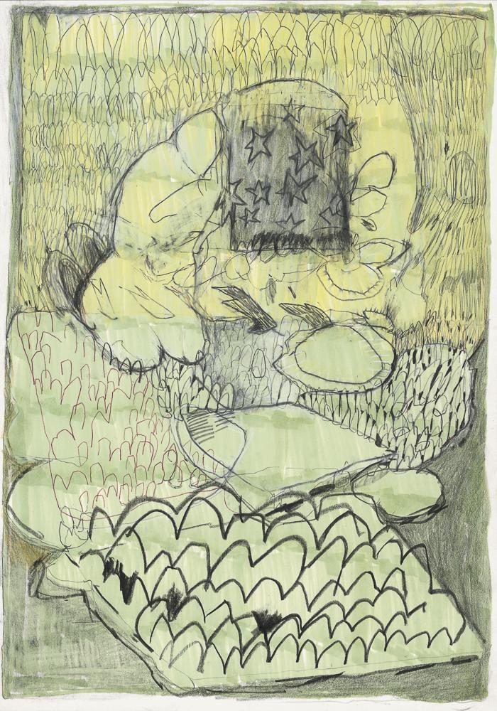 Kunst Matthias Plenkmann, Susanna, 30 x 21 cm, Graphit + Farbstift auf Papier