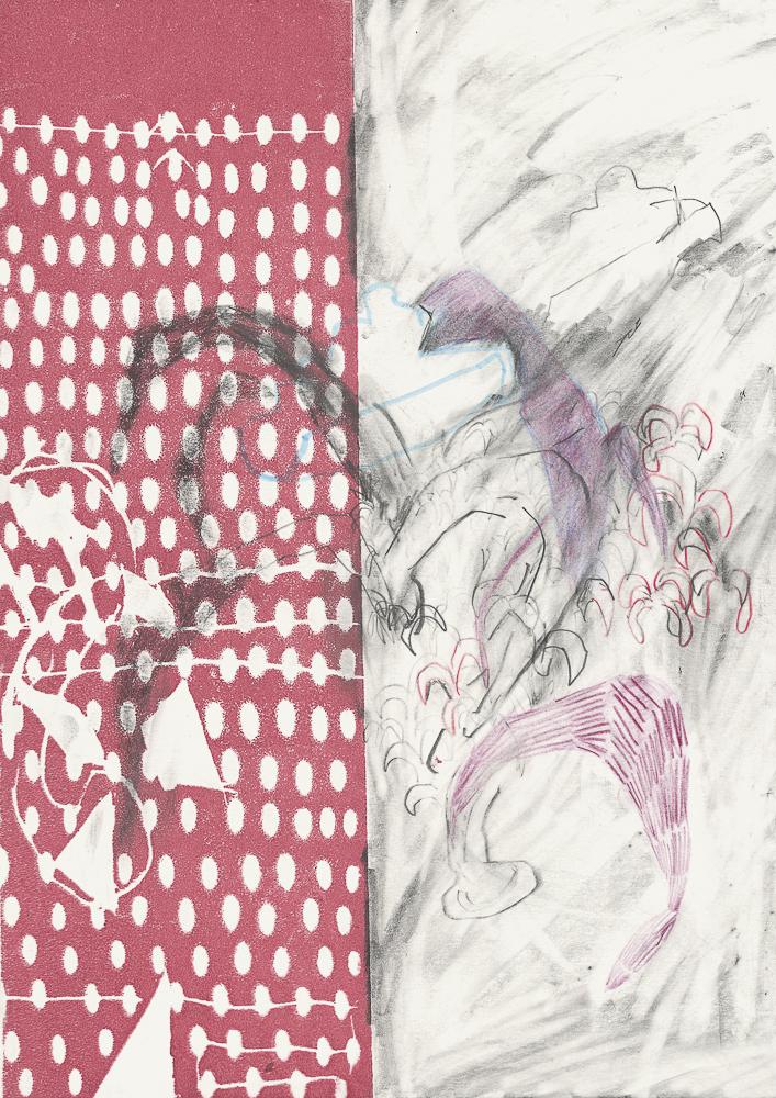 Woher kommt die Angst vor dem Meer, 30 x 21 cm, Graphit, Farbstift und Hochdruck auf Papier, 2020