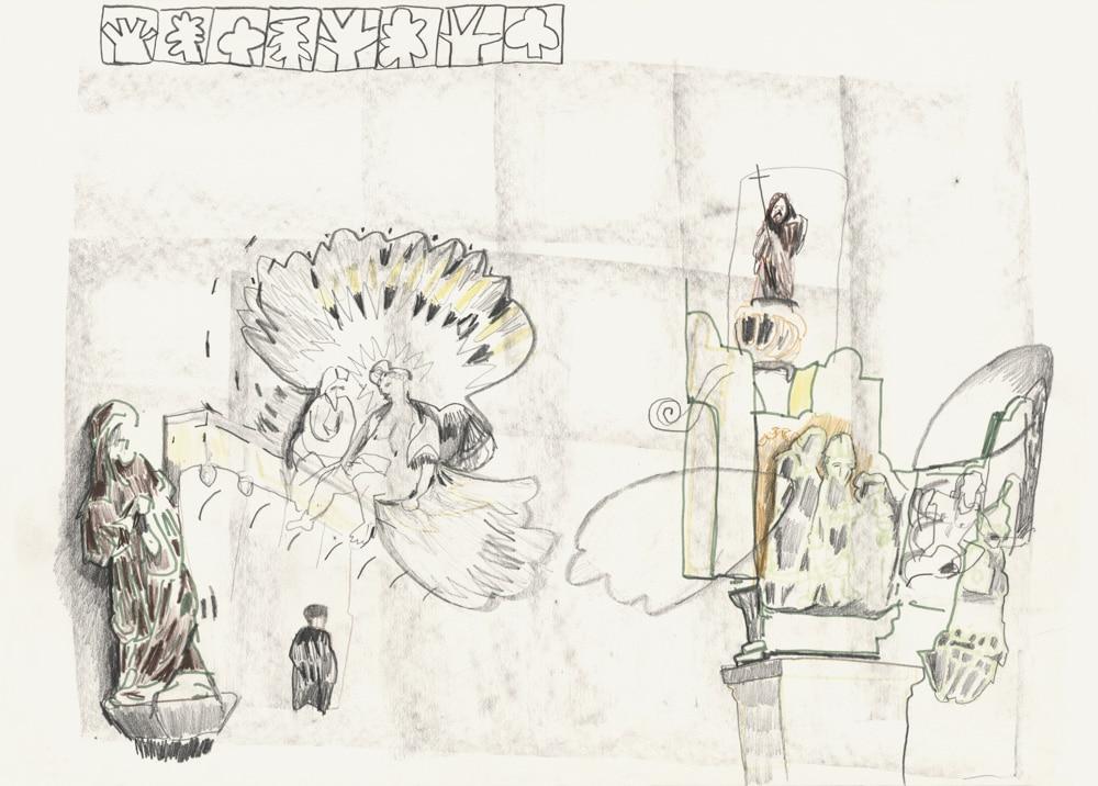 Kunst Matthias Plenkmann, Über den Chören, Graphite + Farbstift auf Papier