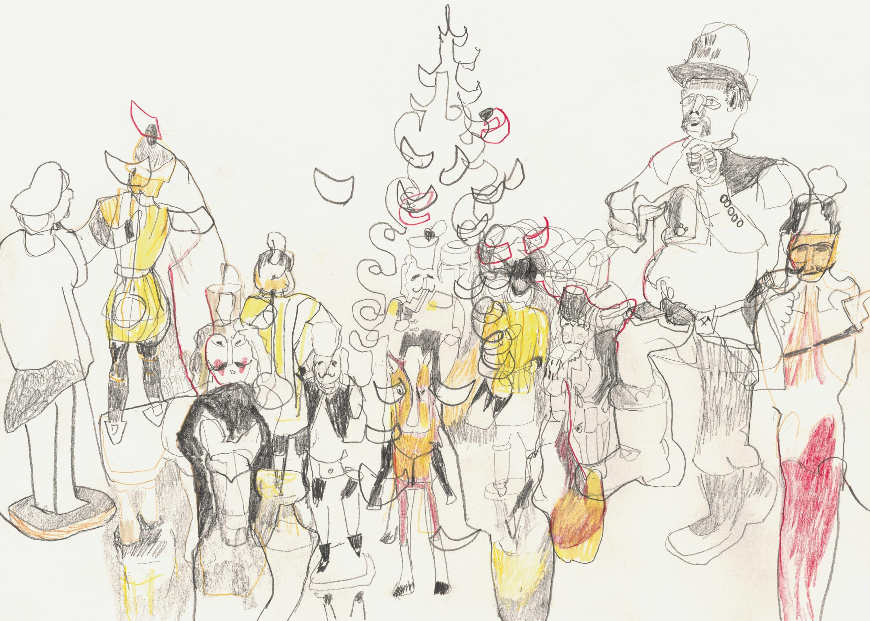 Kunst Matthias Plenkmann, Geez, 42 x 30 cm, Graphit + Farbstift auf Papier