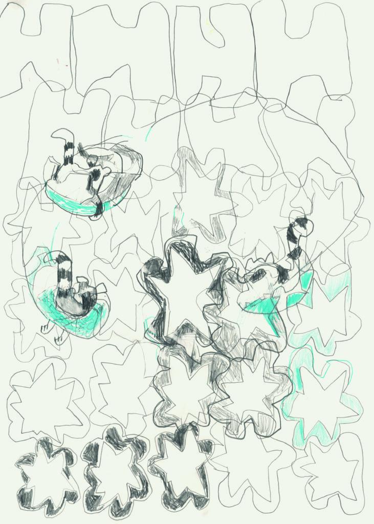 Zeichnung Matthias Plenkmann, Kremlin bei Nacht, Graphite und Farbstift auf Papier