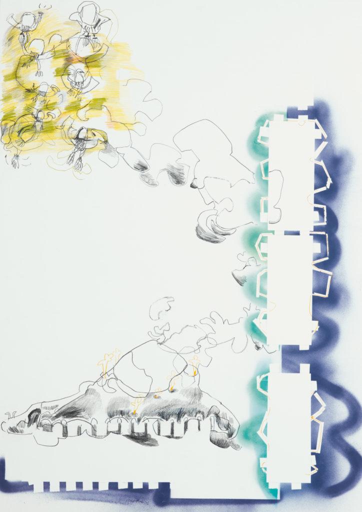 Kunst Matthias Plenkmann, Gänsejagd auf Sizilien, Graphite + Farbstift auf Papier